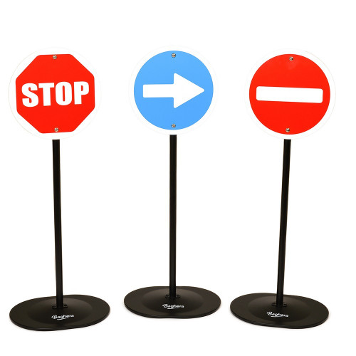 set of 3 metal traffic signs