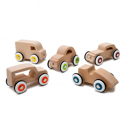 Set of 5 little wooden cars Citroën Origins