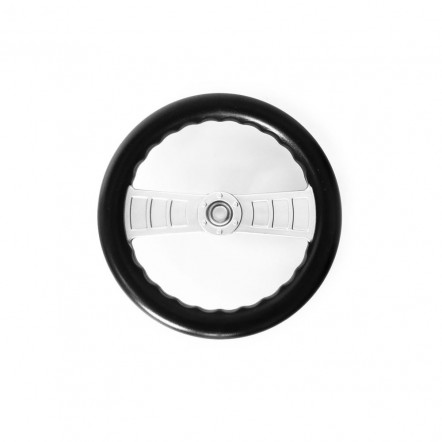 Black plastic steering wheel