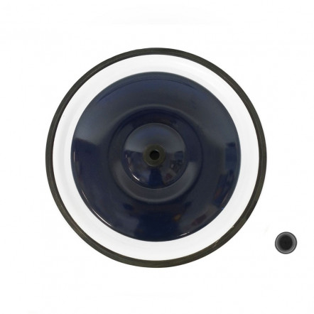 "Blue front wheel 8"" and black plastic wheel cap"